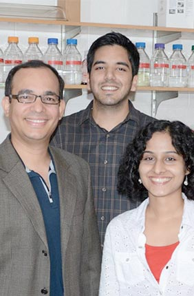 Left to right are: Edrees H. Rashan, Auinash Kalsotra (Assistant Professor of Biochemistry and Medical Biochemistry), Waqar Arif, Amruta Bhate, and Sandip Chorghade.