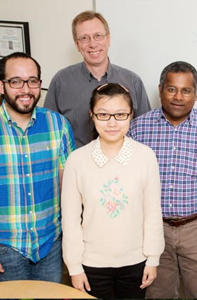 From left, University of Illinois graduate research assistant Manuel A. Ortega, chemistry professor Wilfred van der Donk, graduate student Yue Hao, biochemistry professor Satish Nair, and postdoctoral researcher Mark Walker